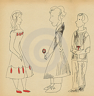 Two Young Men Congratulate Girl Royalty Free Stock Images - Image: 19556529