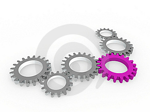 3d Gear Purple Steel Chrom Stock Photography - Image: 19557592