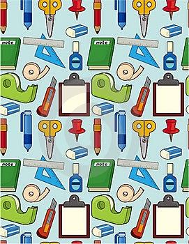 Cartoon Stationery Seamless Pattern Stock Photo - Image: 19559990