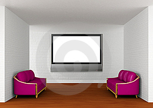 Gallery With Purple Couches And Lcd TV Royalty Free Stock Photography - Image: 19560927