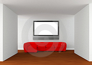 Room With Red Sofa With Flat TV Royalty Free Stock Image - Image: 19561116