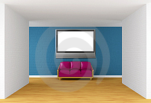 Gallery With Purple Couch And Flat TV Royalty Free Stock Photos - Image: 19561248