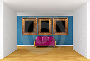 Gallery's Hall With Purple Couch Royalty Free Stock Photography - Image: 19561277