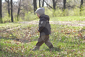 The Child Runs On A Grass Royalty Free Stock Photo - Image: 19566705