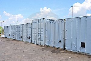 A Row Of Metal Containers Royalty Free Stock Photography - Image: 19568297