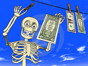 Money Laundering - Cartoon Of Skeleton With Dollar Royalty Free Stock Images - Image: 19573419