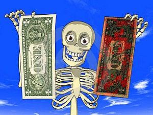 Money Laundering - Cartoon Of Skeleton With Dollar Stock Photography - Image: 19573442