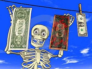 Money Laundering - Cartoon Of Skeleton With Dollar Stock Photo - Image: 19573460