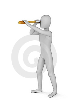 3D Man Looking Through In Spyglass Stock Photography - Image: 19574652