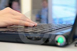 Hand On The Laptop Keyboard. Stock Photography - Image: 19578442