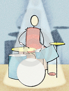 Drummer Watercolor Stock Photography - Image: 19581362