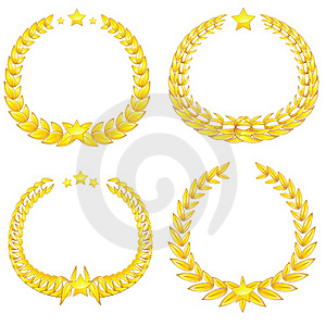 Four Gold Wreaths Stock Images - Image: 19581904