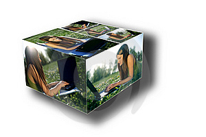 Young Female With Laptop Box Collage Royalty Free Stock Photography - Image: 19586937