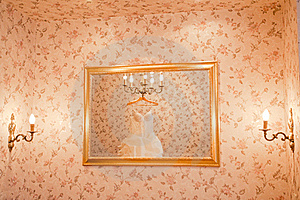 Wedding Dress In The Mirror Royalty Free Stock Photo - Image: 19588045