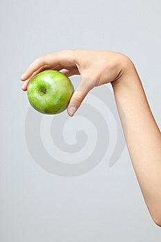 Hand holding apple. Stock Image