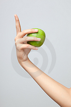 Hand holding apple. Stock Images