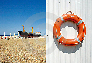 Freighter And Life Preserver Stock Photo - Image: 19588810