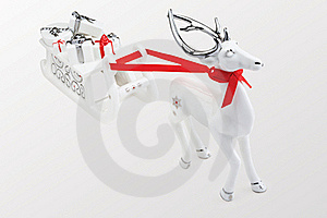 Reindeer with Santa's sleigh Stock Photo