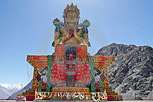 Buddhist Statue Against Himalayas Stock Image - Image: 19588951