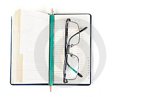 Notebook And Eyeglasses Stock Photo - Image: 19591860