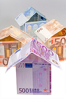 Houses From Euro Banknotes Stock Photography - Image: 19597602