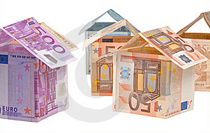 Expensive Houses From Euro Banknotes Royalty Free Stock Photography - Image: 19597607