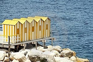 Yellow Bath Houses Royalty Free Stock Images - Image: 19597819