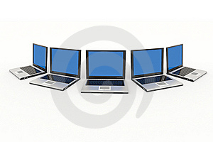 Laptops Isolated On White Stock Image - Image: 19599571