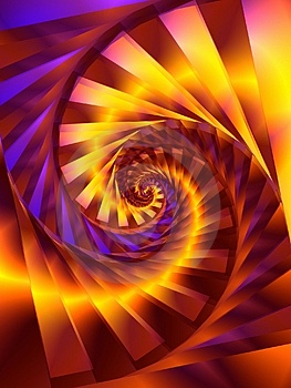 Gold Spiral Swirl Fractal Digital Art Royalty Free Stock Photo