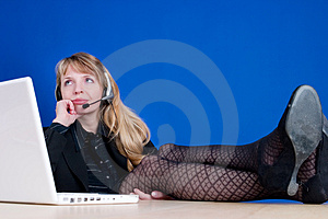 A Bored Woman On The Telephone Stock Photo - Image: 1969380