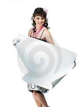 Brunette With A Sheet Of Paper Royalty Free Stock Image - Image: 19600496