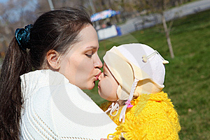 Little Girl With Mother In Spring Park Stock Photo - Image: 19601750