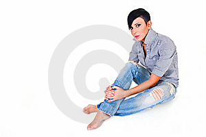 Beautiful Short Haired Young Caucasian Woman Royalty Free Stock Photos - Image: 19601948