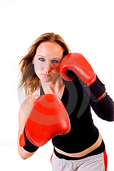 Attractive Caucasian Girl Practicing Boxing Royalty Free Stock Image - Image: 19602466