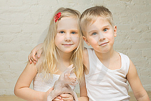 Portrait Of Beautiful Children At Home Stock Photography - Image: 19602522