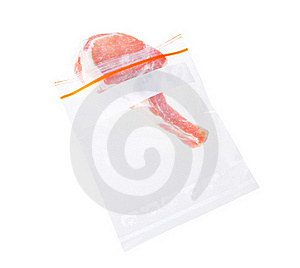 Ribs Pork And Zipper Bag Isolated  Royalty Free Stock Photography - Image: 19605257