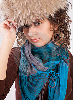 Pretty Girl In A Fur Hat Royalty Free Stock Photos - Image: 19605758