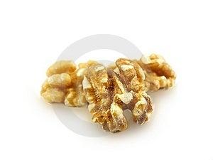 Walnuts Towards White Stock Photos - Image: 19605903