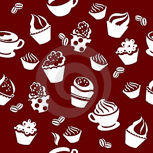 Seamless Pattern With Cups Of Coffee Royalty Free Stock Photos - Image: 19606498