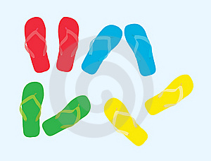 The Sample Of Color Summer Beach Slippers Stock Photography - Image: 19606932