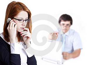 Sad Business Women Calling By Phone. Royalty Free Stock Photos - Image: 19607248