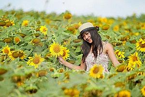 Glückliches Mädchen Zwischen Sonnenblume Lizenzfreie Stockfotografie - Bild: 19607267