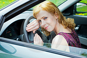 A Woman Behind The Wheel Stock Images - Image: 19608524