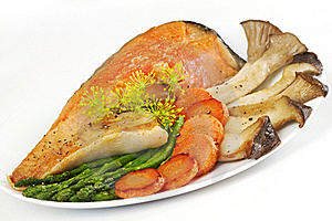 Baked Fish With Mushrooms Stock Images - Image: 19609984