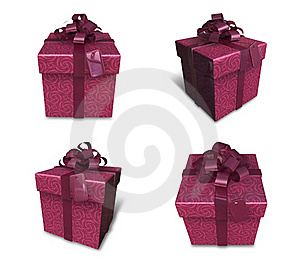3d Decorated Red Gift Stock Photo - Image: 19611950