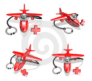 3d Red Airplane And Stethoscope Array Stock Images - Image: 19611974