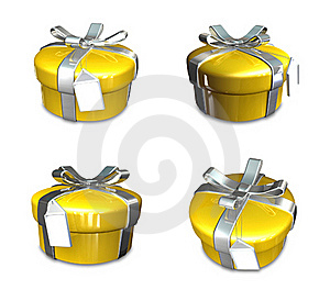 3d Decorated Yellow Gift Royalty Free Stock Photos - Image: 19611978