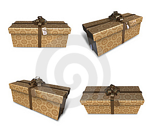 3d Decorated Brown Gift Royalty Free Stock Image - Image: 19612026