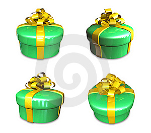 3d Decorated Green Gift Stock Image - Image: 19612091