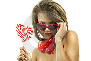 Sexy Woman With Heart Shaped Lollipop Stock Photos - Image: 19612163